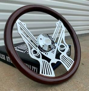 15 Chrome Pistol Steering Wheel Dark Wood Grip 6 Hole Chevy Ford Gmc