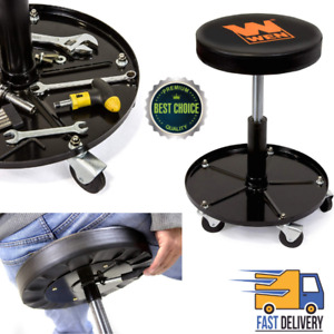 Adjustable Garage Stool With Wheels Pneumatic Rolling Mechanic 300 Lb Capacity