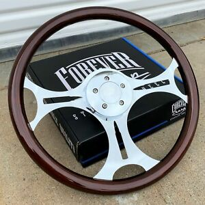 18 Steering Wheel Chrome Ammo Spokes And Dark Wood Grip Factory Second