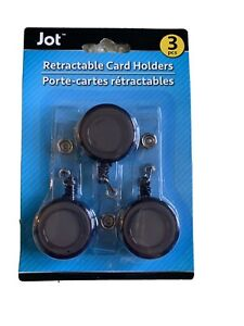 Retractable Id Badge Key Card Holder 3 Pack black
