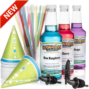 Hawaiian Shaved Ice 3 Flavor Fun Pack Of Snow Cone Syrup Machine Kit