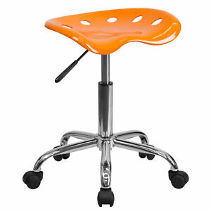 Flash Furniture Orange Tractor Seat Chrome Stool Lf 214a orangeyellow gg