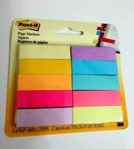 Post it Page Flag Markers Assorted Bright Colors 50 Sheets pad 10 Pads pack