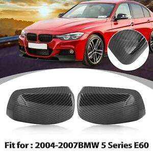 Rear View Mirror Cover Cap Carbon Fiber Pattern For Bmw 5 Series E60 2004 2007