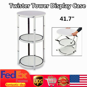 41 7 Portable Round Folding Twister Tower Display Case Exhibition Display Shelf