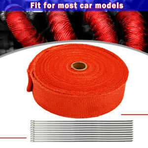 1 Roll 2 50ft 10 Ties Red Kit Exhaust Wrap Manifold Header Pipe Heat Wrap Tape