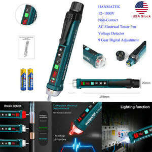 Hanmatek 12 1000v Non contact Ac Electrical Tester Pen Voltage Detector 9 Gear