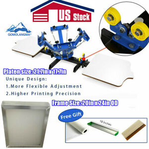 4 Color 2 Station Silk Screen Printing Machine With 6pcs Aluminum Screen Frames
