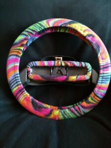 Colorful Stripes Fleece Steering Wheel Cover Set