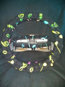Colorful Music Notes On Black Fleece Steering Wheel Cover Set