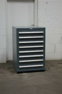 Used Nu era 8 Drawer Cabinet 46 Inches Tall Industrial Tool Storage 2195 Vidmar