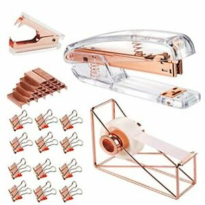Rose Gold Office Supplies Set Stapler Tape Dispenser Staple Remover With 100