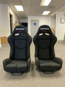 Pair 2 Bride Gias V1 Black Cloth Frp Shell Racing Seats Bucket Slider Rail Jdm