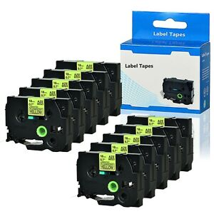 10pk Black On Fluo Yellow Label Tape Tz Tze C41 0 7 For Brother P touch Pt18r