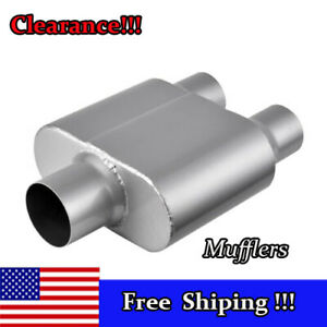 1pcs Chambered Race Muffler C O Performance 3 Inlet 2 5 Dual Outlet 13 Length