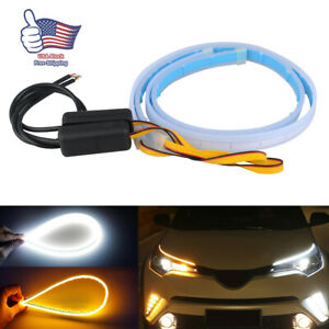 2x 60cm Led Drl Light Slim Amber Sequential Flexible Turn Signal Strip Headlight
