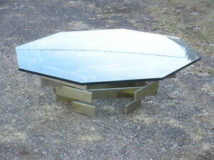 Rare Vintage Modern Paul Mayen Habitat Octaganal Chrome And Glass Coffee Table
