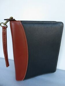 Franklin Covey Quest Black brown Leather Classic 1 5 rings Planner Binder Zip