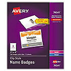 Clip style Name Badge Holder W laser inkjet Insert Top Load 3 X 4 We 100 box