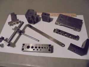 Lot Of 9 Metalworking Tools sine Bars shim Punch holders mill Stop fixture angle
