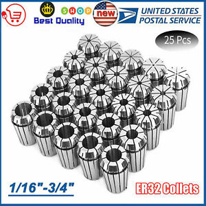 New Er32 Collet 25pcs Set 1 16 3 4 By 16th And 32nd Industrial Grade Accurate