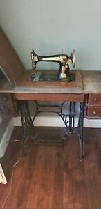 Antique 1904 Singer 15 Sphinx Treadle Sewing Machine B530887 Oak Cabinet