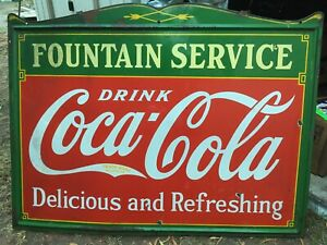 1935 Coca Cola Fountain Service Sign