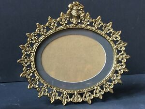 Vintage Metal Gold Antique Picture Frame Fleur De Lis Glass Hollywood Regency