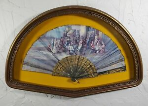 Antique French Figural Hand Fan Signed M Diago With Shell Guard