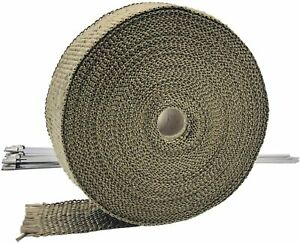 1 Roll Titanium Exhaust Header Thermal Heat Wrap 2 X 50 With Zip Ties