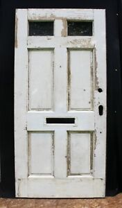 36 X78 Antique Vintage Old Exterior Wood Wooden Front Entry Door 2 Window Glass