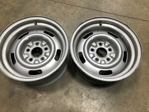 1968 68 Corvette 15x7 Rally Wheels Ag Code Pair With Trim Rings Vette