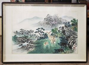 Antique Chinese Painting Green Mountain Landscape Signed Framed