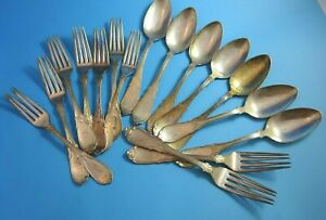 16 Pcs Florence Silverplate Forks Spoons By Hall Elton Made In 1867 2726
