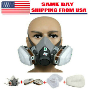 7in1 Half Face Gas Mask Facepiece Spray Painting Respirator Safety Suit F 6200