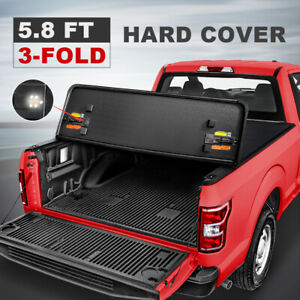 Hard Tonneau Cover 5 7 5 8ft Tri fold For 2009 21 Ram 1500 Truck Bed W Lamp