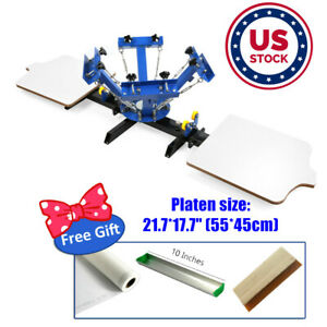 Us Stock 4 Color 2 Station Silk Screen Printing Press For Diy T shirt Printing