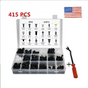 415pcs Auto Car Body Plastic Push Pin Rivet Trim Fastener Clip Screwdriver Nylon
