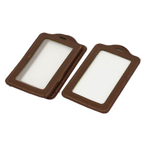 Office Faux Leather Name Tag Id Badge Card Holder Carrier Brown 3pcs
