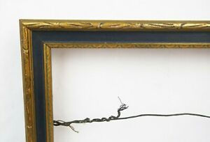 Antique Art Nouveau Ornate Gold Blue Gesso Picture Frame Fits 10 X 7 25