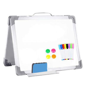Foldable Magnetic Double sided Portable Whiteboard 8 Pens 4 Magnets 1 Erase K6l8