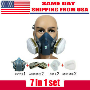 7pcs set Half Face Respirator Painting Spraying Face Gas Mask For 7502 Silicone