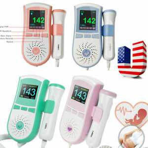Portable Colo Fetal Doppler Baby Heart Monitor Backlight Lcd 3mhz Probe