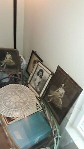 Lot Of 4 Antique Large Picture Frames With Antique Photos 1 Hand Colored