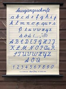 Vintage Alphabet School Chart Educational Chart Calligraphy Poster Cursive