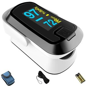 Mibest Black Dual Color Oled Finger Pulse Oximeter O2 Saturation Monitor