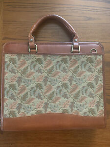 Vintage Franklin Covey Leather tapestry Planner W handles Monarch 1 5 Rings