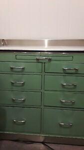 Antique Vintage Medical Cabinet Green Metal Good Condition