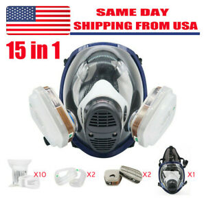 Respirator Full Face 15 In 1 Gas Mask Paint Chemicals Safety Similar For 6800