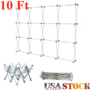 Us Stock 10ft Tension Fabric Pop Up Display Backdrop Stand Trade Show Stand